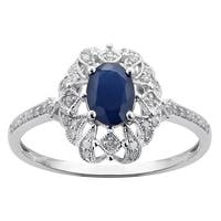 Viducci 10k White Gold Genuine Vintage Style Sapphire and Diamond Ring