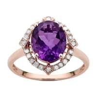 Viducci 10k Rose Gold Oval Amethyst and Diamond Halo Ring