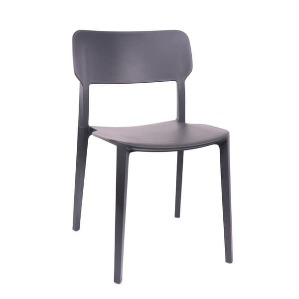 Viro Black Grey Modern Stackable Side Chair (Set of 4)