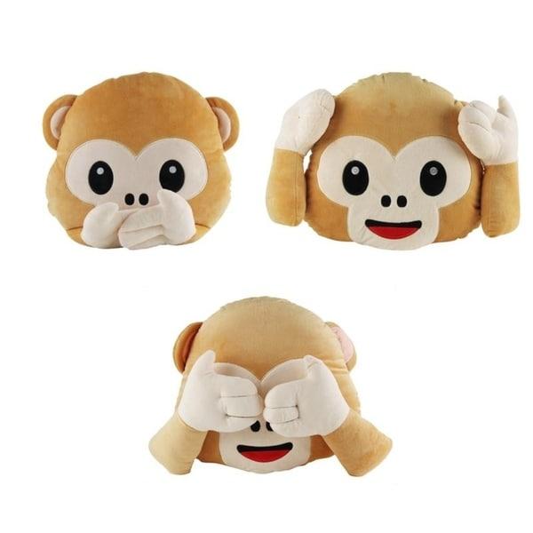 Monkey Pillow See No Evil Speak No Evil Hear No Evil Emoji Plush