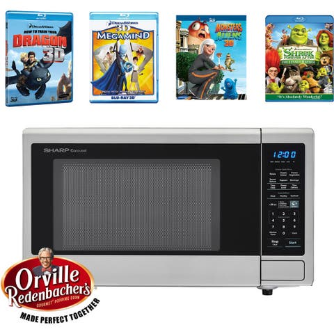 Sharp Movie Night with Orville Redenbachers Certified 1.4 cu. ft. Carousel Microwave Oven and 4 Blu-ray 3D Movies
