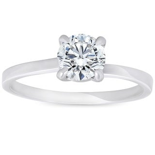 Bliss 14K White Gold 3/4 ct TDW Solitaire Diamond Clarity Enhanced Round Brilliant Cut Engagement Ring