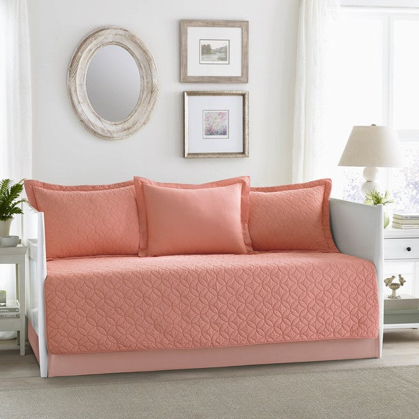 Shop Laura Ashley Solid Coral Daybed Set - Free Shipping Today ...