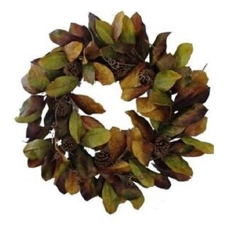 MAGNOLIA LEAF WREATH Green Brown