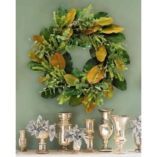 "26"" Magnolia foliage and fern wreath"