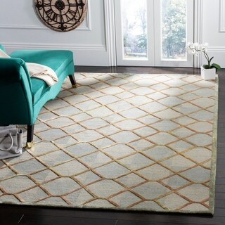 Safavieh Couture Hand-Knotted Nepalese Contemporary Citrine / Gold Silk & Wool Rug - 6' x 9'