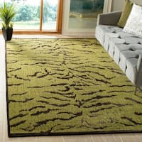 Safavieh Couture Hand-Knotted Contemporary Jade / Coffee Silk & Wool Rug - 6' x 9'