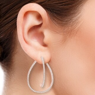 La Preciosa Sterling Silver or Rose Gold Teardrop Cubic Zirconia Jacket Earrings - White