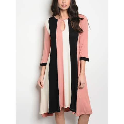 JED Women's Colorblock 3/4 Sleeve Tunic Knee Length Dress