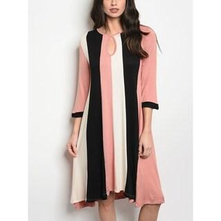 JED Women's Colorblock 3/4 Sleeve Tunic Knee Length Dress