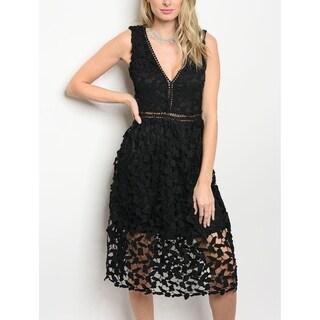 JED Women's Lace V-Neck Little Black Party Dress
