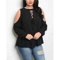 JED Women's Plus Size Lace-Up Cold Shoulder Top