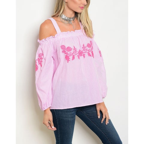 JED Women's Light Pink Embroidered Cotton Off Shoulder Top