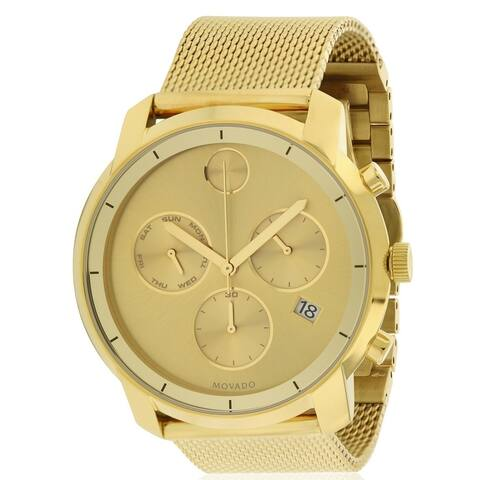 Movado Bold Gold-Tone Stainless Steel Chronograph Mens Watch