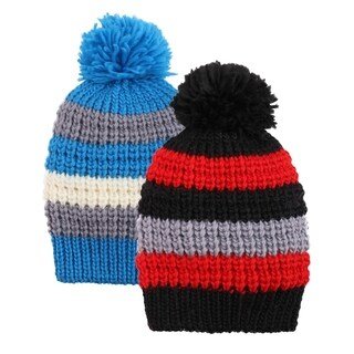 Kids and Toddlers' Winter Beanie,Blue Stripe/Black Stripe