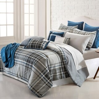 Amrapur Overseas George Plaid 16-Piece Printed Reversible Comforter Set