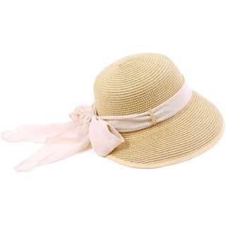 Women Wide Brim Travel Straw Sun Hat Natural Color w/ Pink Chiffon Band (2 options available)