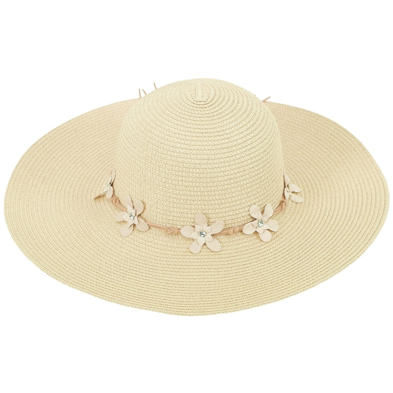 Women s Summer Wide Brim Straw Sun Hat w  Chin Strap 2d932a3b7a1