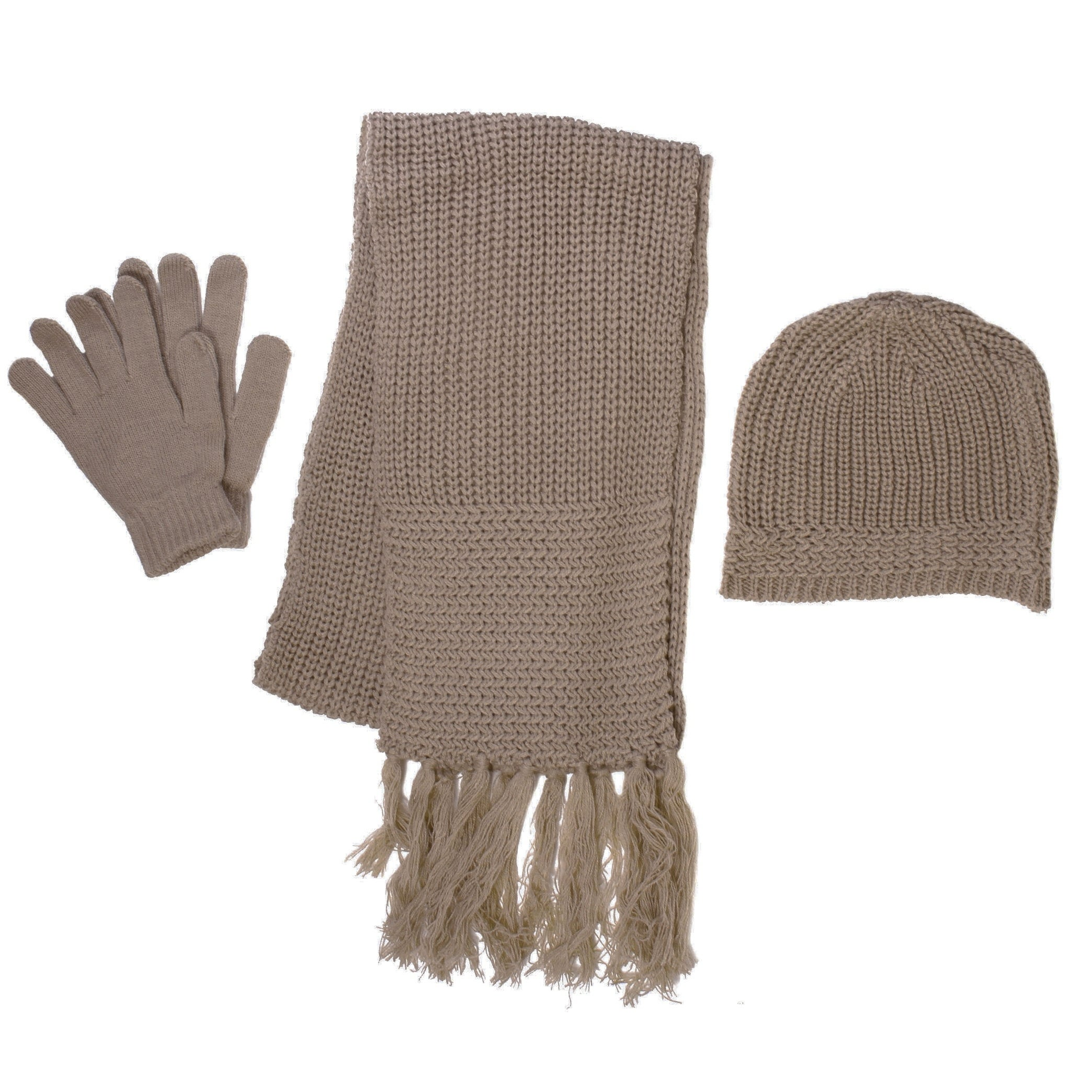 Simplicity Men Winter Knitted Warm Gloves Scarf Hat Set (...