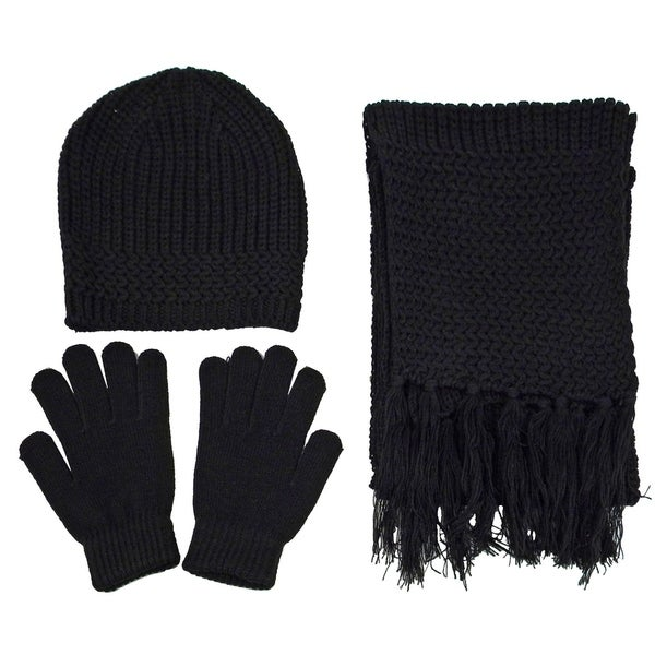 2a70372655bea Shop Men Winter Knitted Warm Gloves Scarf Hat Set - On Sale - Free ...