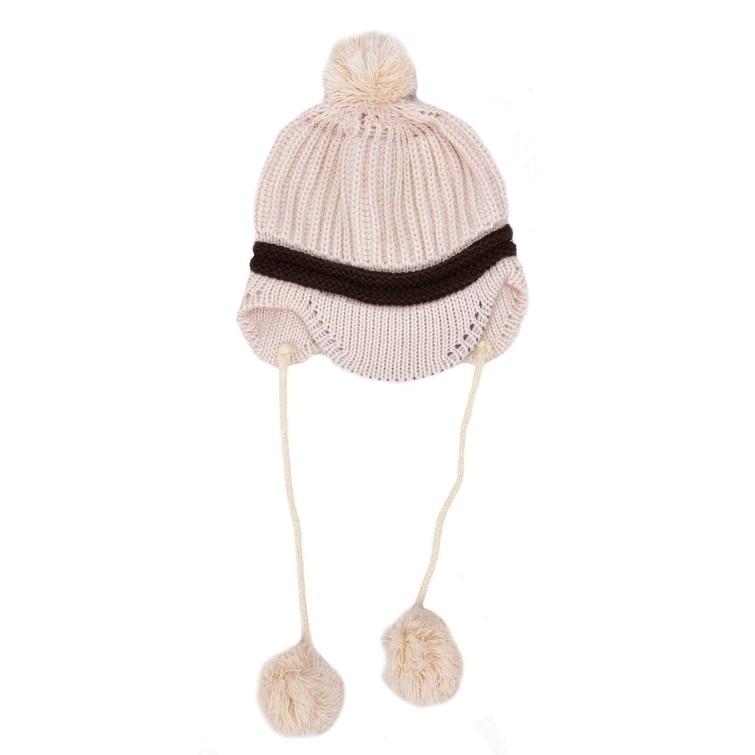 31b719ef1737c Winter Pom-Pom Brim Knit Beanie Visor Hat with Ear Flaps for Baby ...