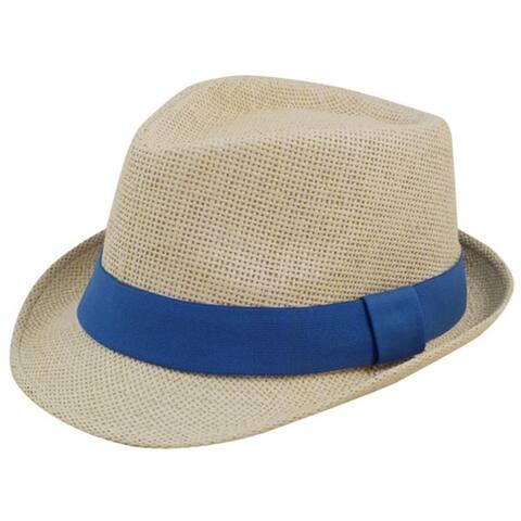 Man and Women's Summer Short Brim Natural Straw Fedora Hat