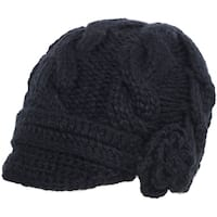 Casual Winter Knit Beanie Hat with Visor