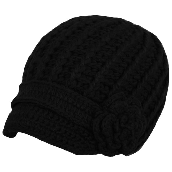 d7dda718a35 Womens Cable Knit Hat with Flower Accent Cute Visor Beanie Cap Soft Warm  Fashion