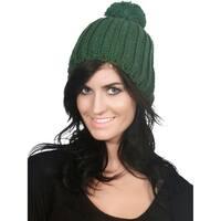 Women's  Thick Knit Slouchy Pom Pom Beanie Winter Ski Hat
