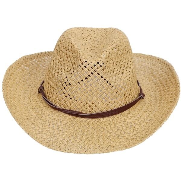 6b10e7b9fb4c5 Shop Men s Straw Cowboy Hat w  PU Leather Band   Chin Strap Beige ...