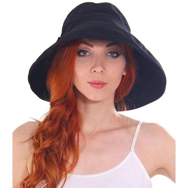 b19d47a03d9 Shop Women s Cotton Foldable Summer Sun Hat w  Bow - On Sale - Free ...