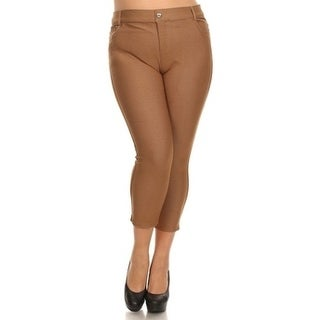 Women's Solid Cotton Blend Pull On Capri Jeggings with Pockets