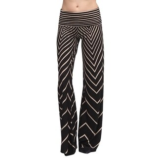 Womens Funky Wide Leg Pants with All over Zig Zag Print