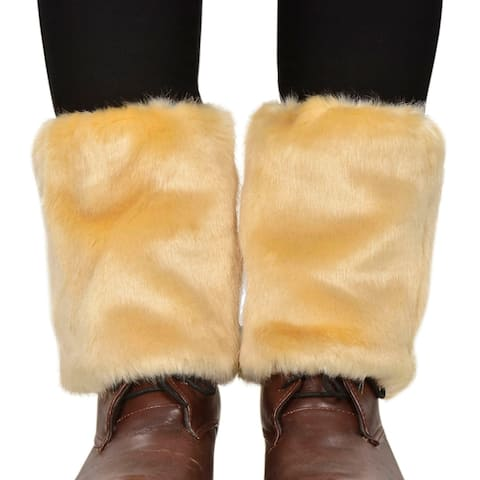 Women's Winter Faux Fur Leg Warmers Fuzzy Boots Cuffs Cover, Khaki