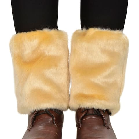Womens Winter Faux Fur Leg Warmers Fuzzy Boots Cuffs Cover Khaki