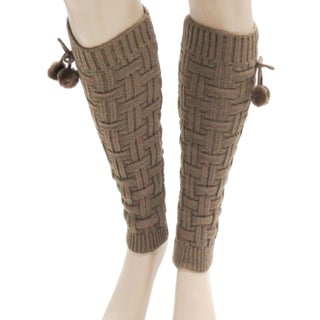 Women Winter Pom Pom Leg Warmers Knit Boot Socks Cuffs Toppers Coffee (Option: Khaki - One Size Fits Most)