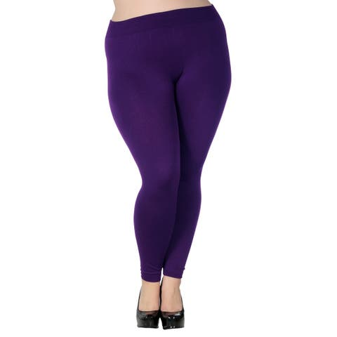 Women's Plus Size Fleece Lined Full Length Leggings Tights Pants