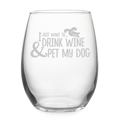 Pet My Dog Stemless Wine Glass & Gift Box