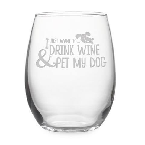 Pet My Dog Stemless Wine Glass & Gift Box