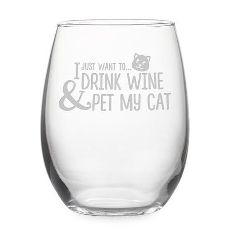 Pet My Cat Stemless Wine Glass & Gift Box