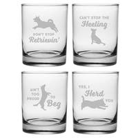Clever Canines Assortment Rocks Glass (Set of 4)