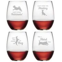 Clever Canines Assortment Stemless Wine Glass (Set of 4)