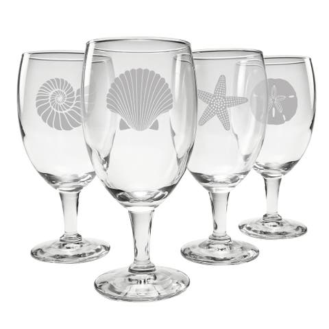 Seashore Assortment Footed Goblets (Set of 4)
