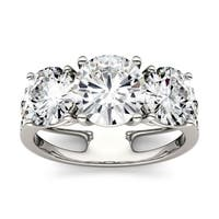 Charles & Colvard 14k White Gold 3 1/2ct DEW Forever One Near Colorless Moissanite Three Stone Ring