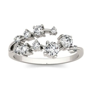 Charles & Colvard 14k White Gold 1/2ct DEW Forever One Near Colorless Moissanite Galaxy Ring