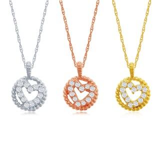 14k Diamond Accent Circle Heart Pendant