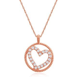 14k Rose Gold 1/3ct TDW Diamond Heart Circle Pendant