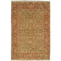 Safavieh Couture Hand-Knotted Old World Vintage Light Green / Rust Wool Rug - 4' x 6'