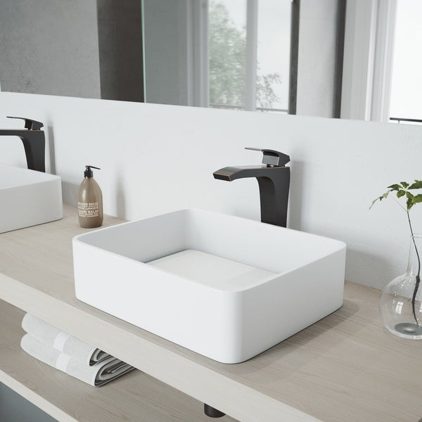 VIGO Jasmine Vessel Bathroom Sink and Blackstonian Vessel Faucet Set