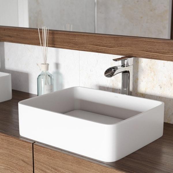 VIGO Jasmine Matte Stone Vessel Bathroom Sink and Niko Faucet Set